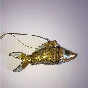 Unbranded Holiday - Vintage gold articulated fish pendant koi 3""